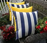 Set of 4 Pillow Covers - 20'' x 20'' Indoor / Outdoor Decorative Pillow Covers - 2 Navy Blue and White Stripe & 2 Solid Yellow Pillows