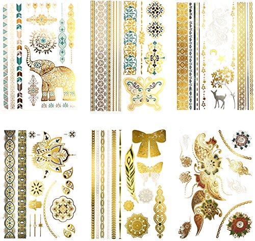 Bohemian Hippie Temporary Metallic Tattoos - Over 75 Colorful Shimmer Designs (6 Sheets) Terra Tattoos Willow Collection