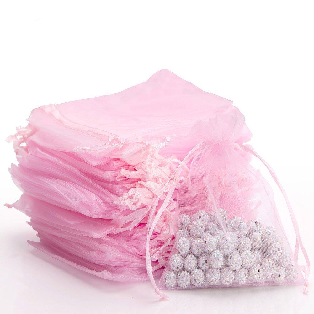 Amazon.com  100pcs Sheer Drawstring Organza Gift Bags Jewelry Candy  Chocolate Mesh Pouches Wedding Party Bridal Baby Shower Birthday Engagement  Christmas ... 8cb6e7750b
