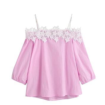 2fe554149d652c Women Blouse Daoroka Ladies Sexy Off Shoulder Strap Lace Short Puff Sleeve  T Shirt Casual Loose