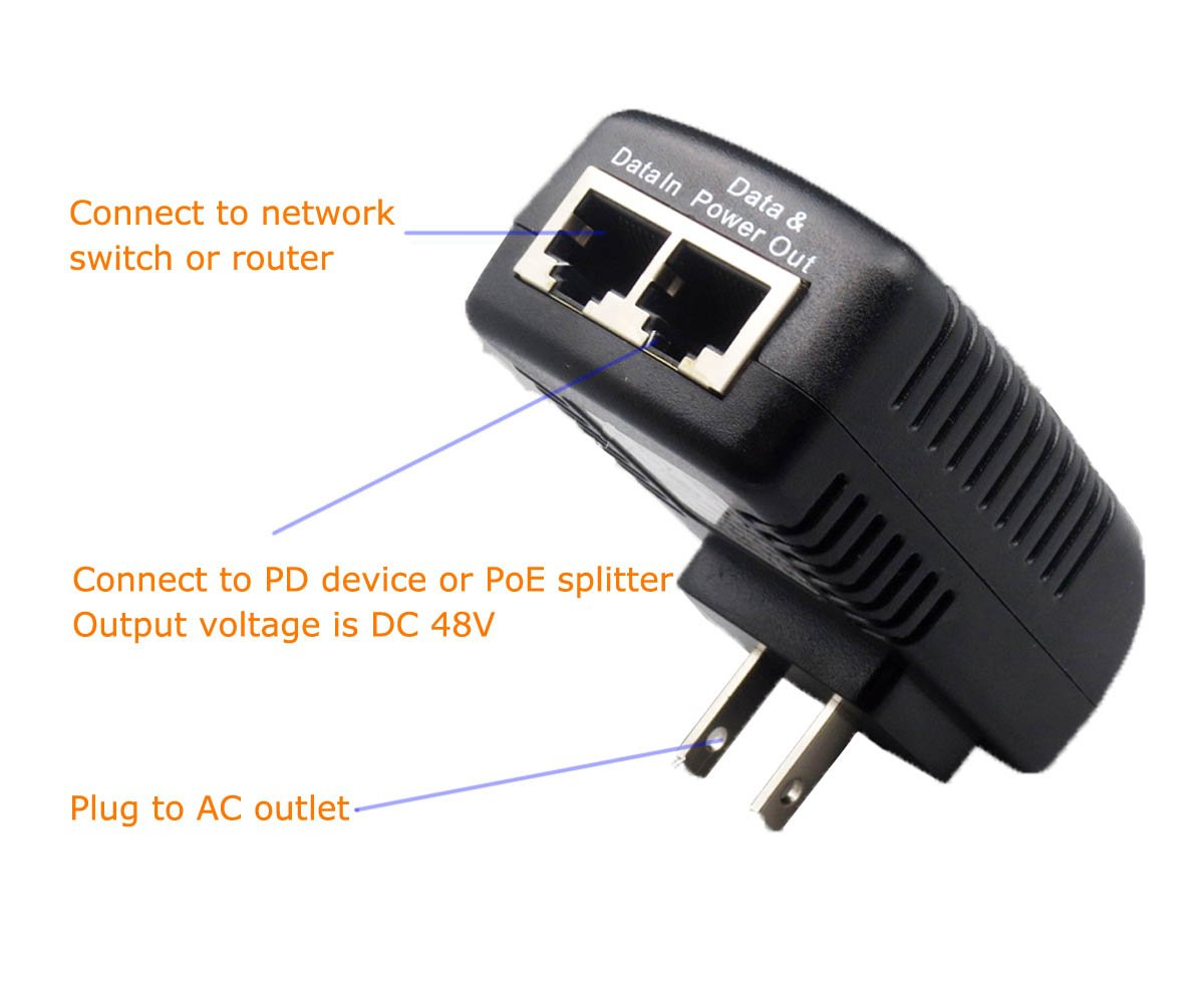 ANVISION 48V 0.5A PoE Injector Power Supply Adapter with Wall Plug IEEE 802.3af Compliant 10//100Mbps for IP Camera Voip Phones AP