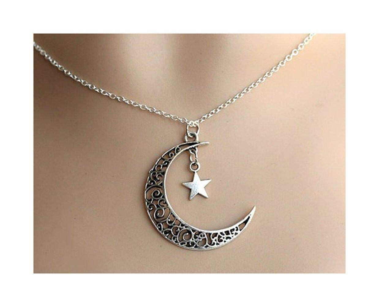 Oldlila Silver-plated hollow Crescent Moon with Star pendant Necklace