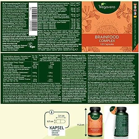 Brainfood Complex Vegavero   Memoria + Concentración + Energía Mental + Estudio   DHA (Omega 3) + Ginseng + Cafeína de Guaraná + Ginkgo Biloba + Vitaminas B ...