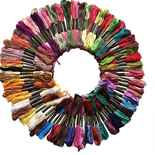 Cotton Thread 100Pcs Multicolor Random Embroidery Thread Floss Sewing Skeins Craft Knitting Spiraea