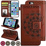 iphone6 cover card holder - Slim Wallet Kickstand for Video iPhone 6s Plus/iPhone 6 Plus Case Luxury Flip Magnetic Leather Back with Card Solts Holder Phone Cover for iPhone6 Plus and iPhone6s Plus Cases [5.5'', Brown]