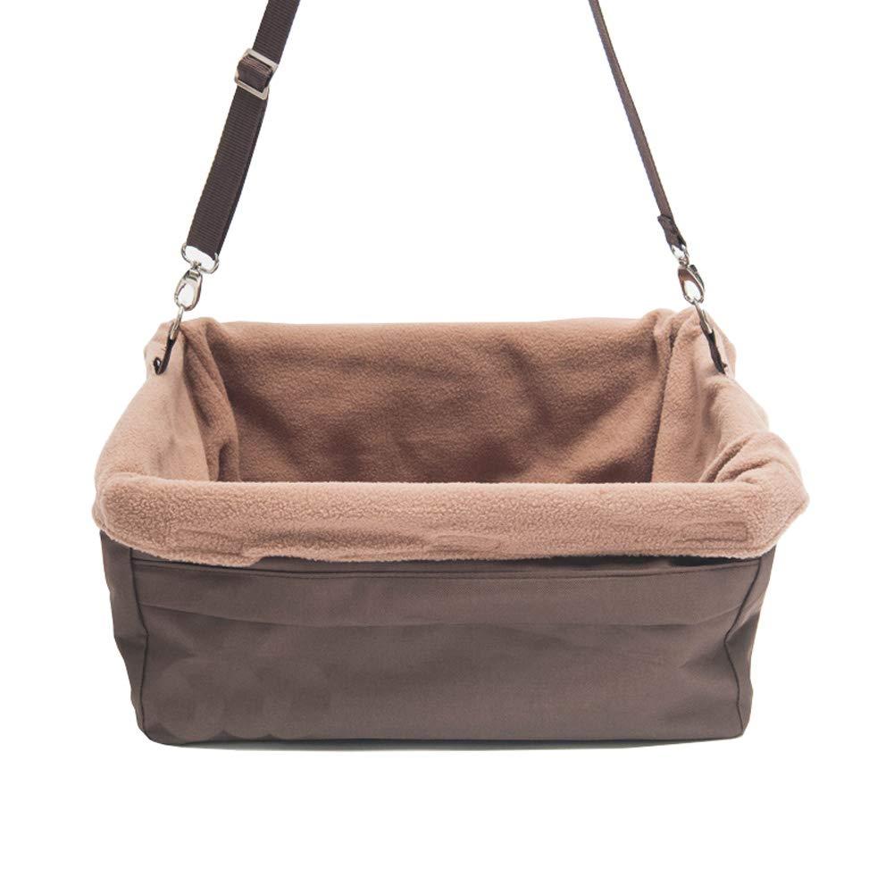 Brown Medium Brown Medium CHEN. Pet bag pet basket out portable car bag car seat dog bag dog basket pet car box pet supplies,Brown,M
