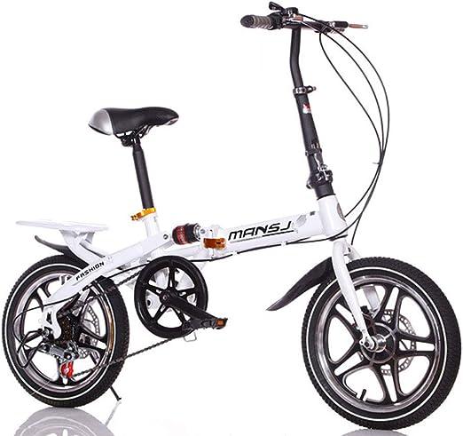 Suspensión Unisex Bicicleta Plegable 16 Pulgadas 6 velocidades ...