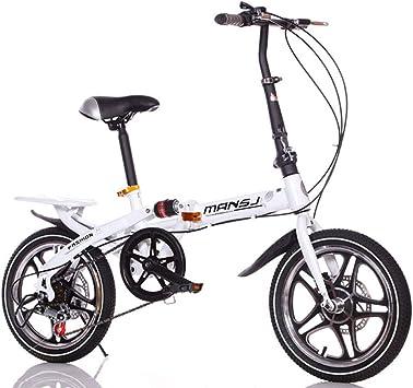 Suspensión Unisex Bicicleta Plegable 16 Pulgadas 6 velocidades Freno de Disco Doble Aleación de Aluminio Rueda Integral Estudiante Niño Ciudad del Viajero Acero de Alto Carbono Bicicleta,White: Amazon.es: Hogar