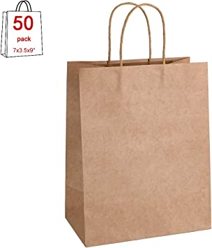 Amazon.com: Bolsas de papel Kraft 25,50,100,200 unidades ...