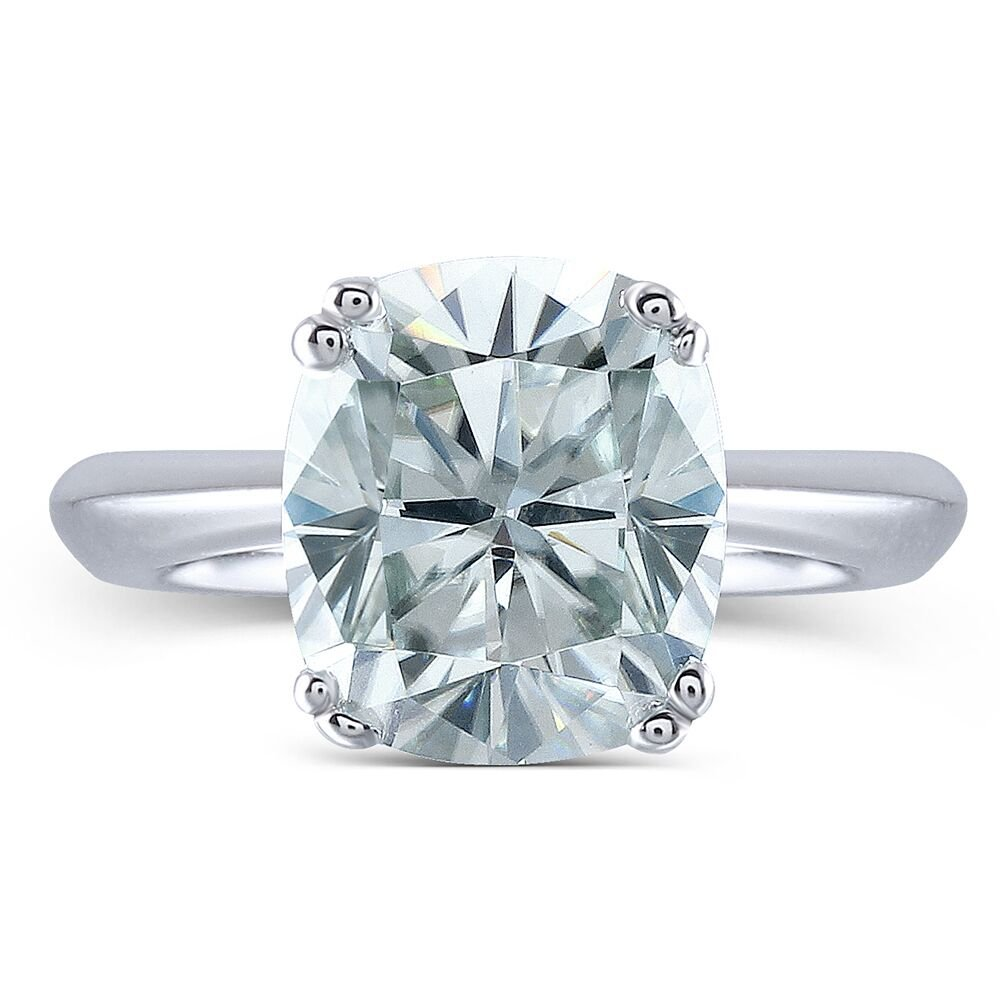 2ct 7X8mm Cushion Cut 2.4mm Width 8 Prongs Lab Grown Moissanite Engagement Rings Platinum Plated Silver (4.5)
