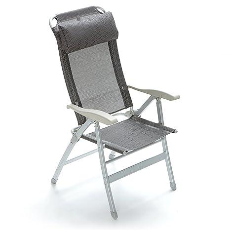 d1c510bb1f Q.bo Poltrona alluminio reclinabile 8 posizioni poggiatesta imbottito  grigio 05361/G