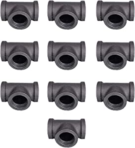 "GeilSpace Tee, Malleable Iron Pipe Fittings - Vintage DIY Industrial Shelving, Industrial Decor, Furniture DIY (1/2"", Grey)"