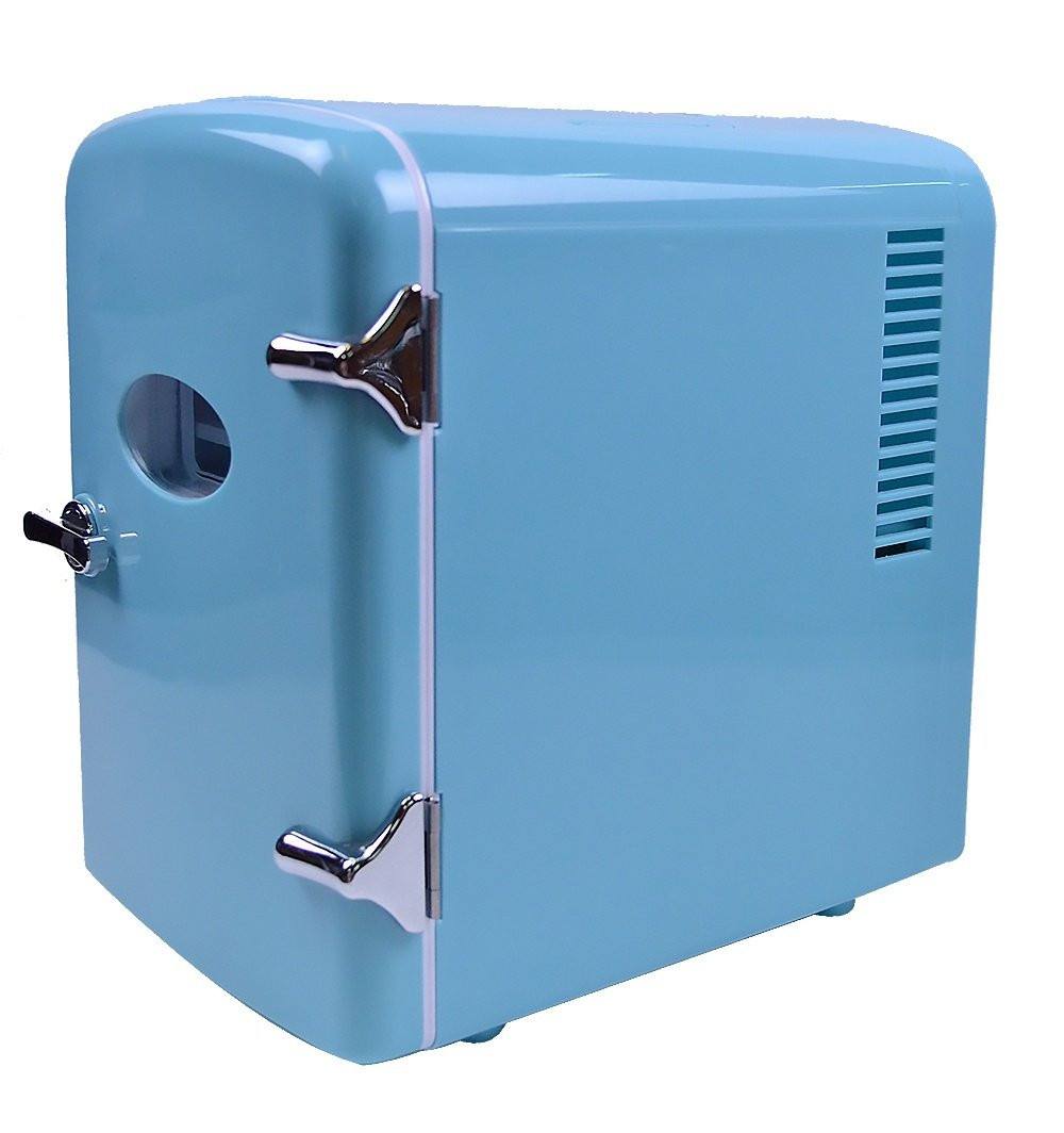 Retro Portable 6 Can Mini Fridge Cooler - Home,Office, Car or Boat - AC & DC - Blue - 110/120V by Generic (Image #2)