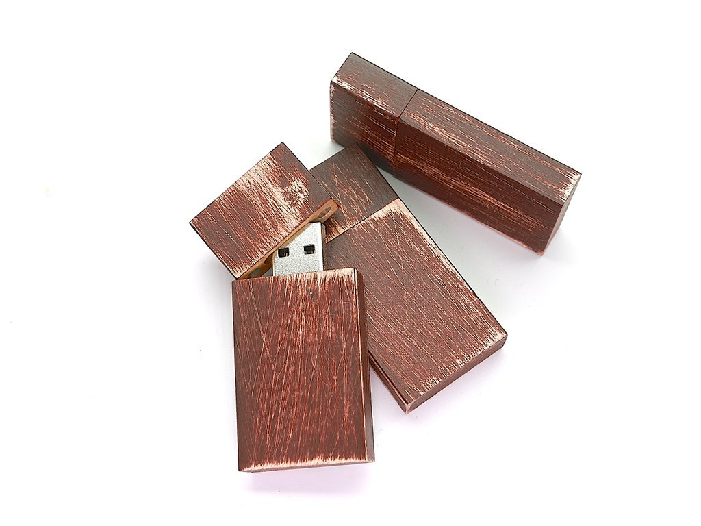 20 Pieces 8GB Antique Finish Flash Drives in Burgundy. These vintage USB drives are high quality, hand finished and Eco Friendly.