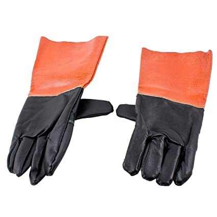 2 piezas de color naranja negro guantes soldador trabajo parrilla polipiel 34cm de largo