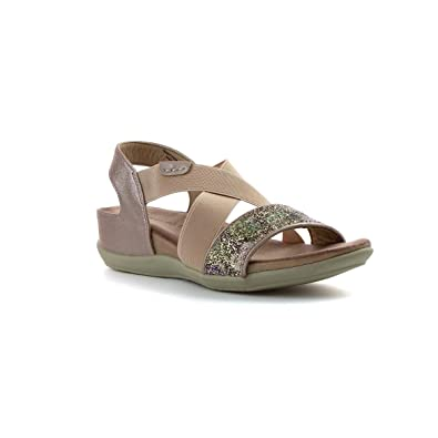 ff9cfd509814 Heavenly Feet Womens Gold Strappy Flat Sandal  Amazon.co.uk  Shoes ...