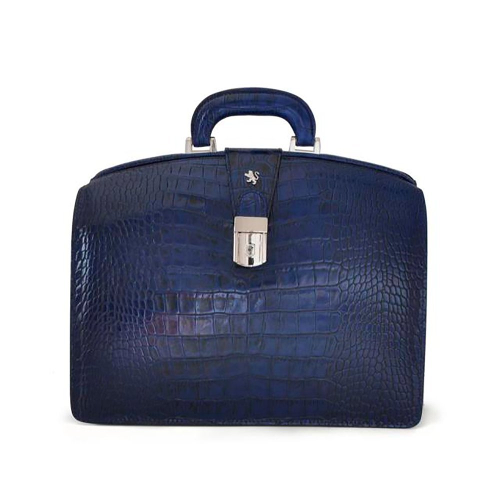 Pratesi Unisex [Personalized Initials Embossing] Italian Leather Brunelleschi Small King Briefcase in Cow Leather in Blue