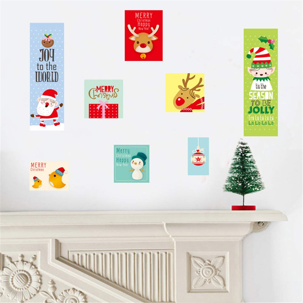 XINDEEK 2019 New Christmas Wall Sticker Creative Decal Window Protect Removeable WallpaperI for Home Shop Decor(A)