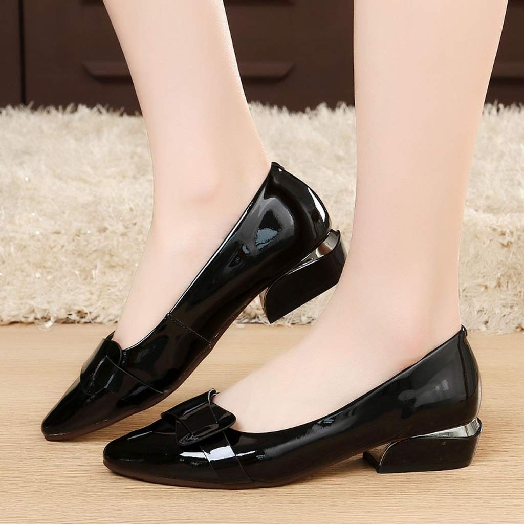 TARSHIN Single Shoes Spring and Summer Female Thick with Shallow Mouth with Work Shoes Small Shoes