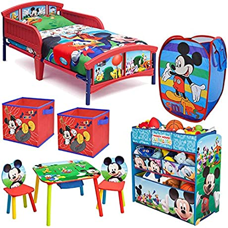 Disney Delta Children Mickey Mouse Clubhouse 8 Piece Furniture Set Plastic Toddler Bed Multi Bin Toy Organizer Table And Chair Set 2 Pack Storage Cube And Pop Up Hamper