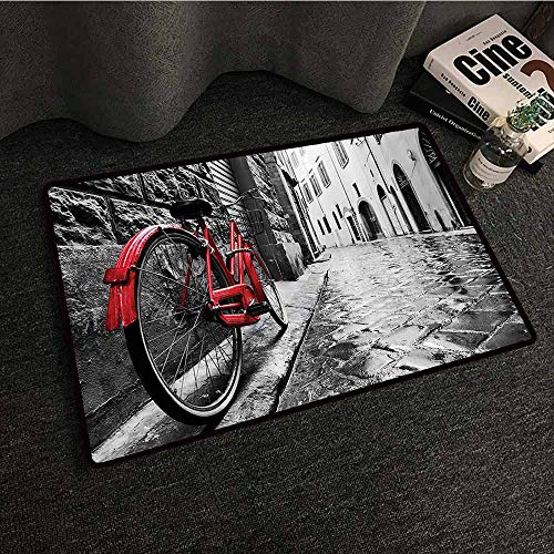 - Bicycle Decor Welcome Door mat Classic Bike on Cobblestone Street in Italian Town Leisure Charm Artistic Photo Easy to Clean W24 xL35 Red Black and White