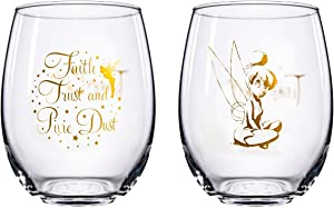 Disney Classics Collectible Stemless Tumbler Glass Sets - 16 Ounces - Set of 2 (Tinkerbell)