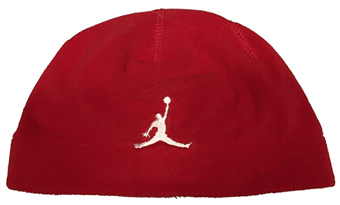 f29607d3db8976 Image Unavailable. Image not available for. Color: Red Fleece Jordan Beanie  Skullcap with White Jumpman ...