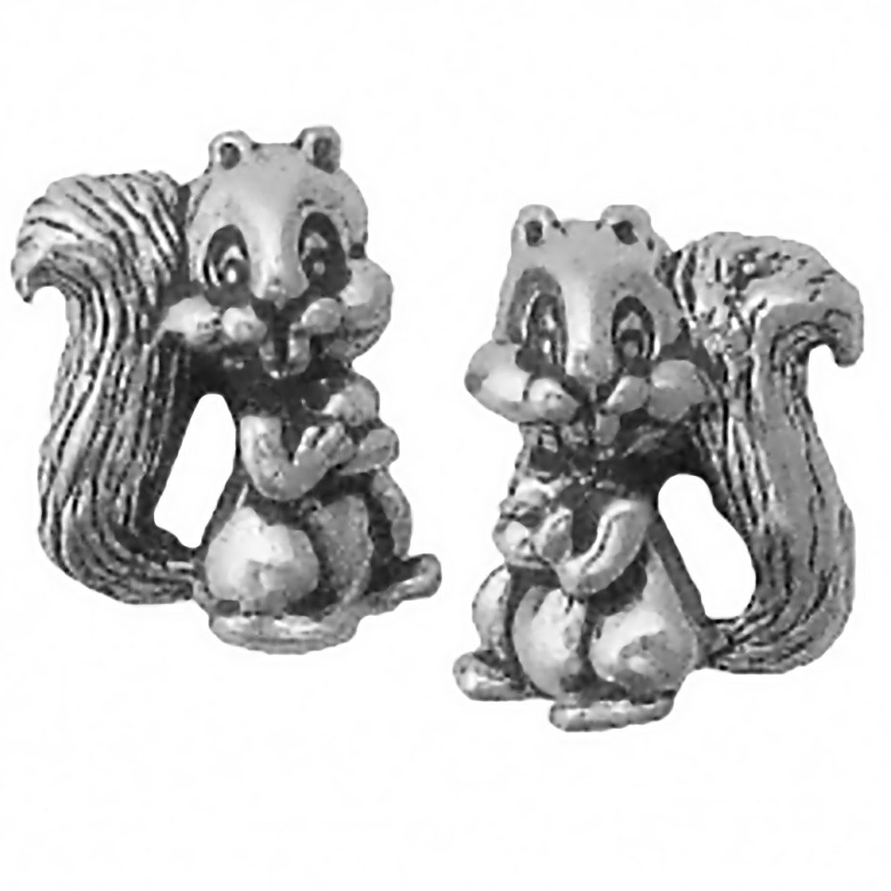 Corinna-Maria 925 Sterling Silver Squirrel Earrings Studs Tiny Mini Stainless Steel Posts and Backs