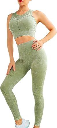 Women/'s sport 2PCS Fitness Wear workout gym set Yoga Vest Sports Legging Pantalon