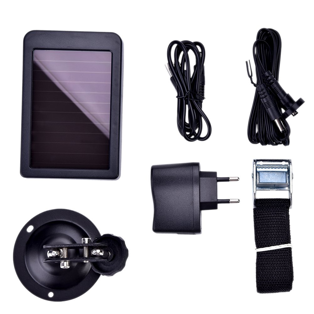 VGEBY Solar Panel Charger, Portable Hunting Camera Solar Power Bank With Battery for Your Camera(US Plug)