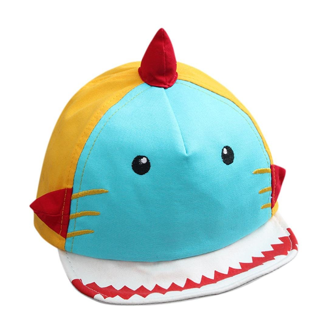 WARMSHOP Baby Cartoon Shark Baseball Hat Boys Girls Cotton Baseball Hats Sun Visors Cap 1-2 Years Old (Sky Blue)
