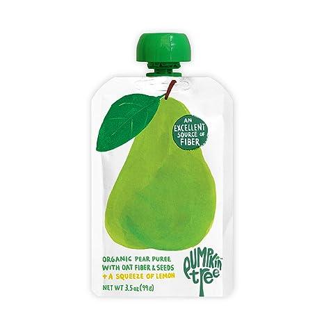Pumpkin Tree Organics Fruit Snack Pouch, Pear + Fiber + A Squeeze of Lemon – 3.5 Ounce (Pack of 10)