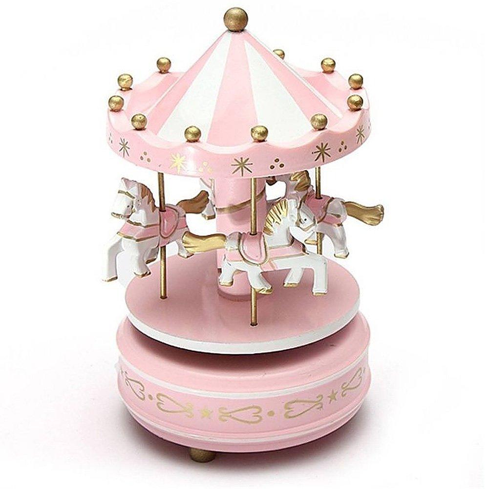 Musica Box Home Decorative Wind Up Horse Fairground Carousel Toy Pink Golden Christmas Birthday Valentine's Day SHUNBEI
