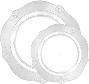Posh Setting Antique Collection Combo Pack China Look Clear Plastic Plates(Includes 4 Packs  sc 1 st  Amazon.com : posh disposable plates - pezcame.com