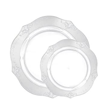 Posh Setting Antique Collection Combo Pack China Look Clear Plastic Plates(Includes 2 Packs  sc 1 st  Amazon.com & Amazon.com: Posh Setting Antique Collection Combo Pack China Look ...