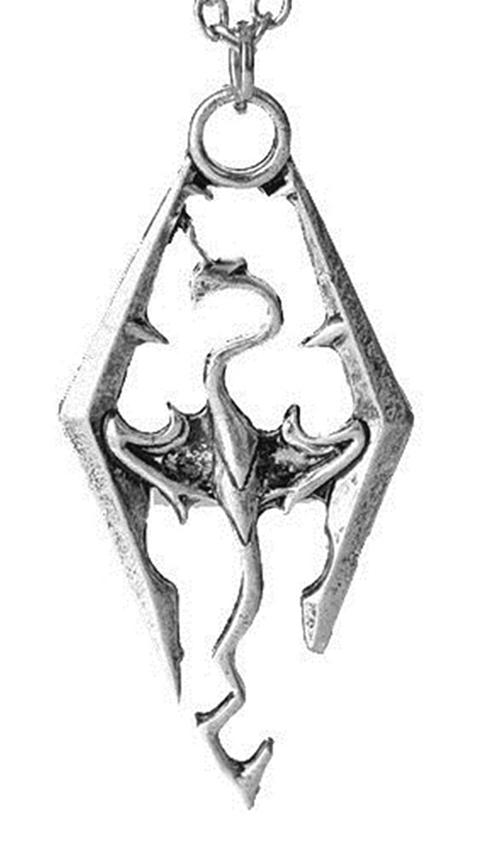 Drago Skyrim Lovelegis Collana da Uomo e Donna Elder Scrolls Colore Argento Dragone