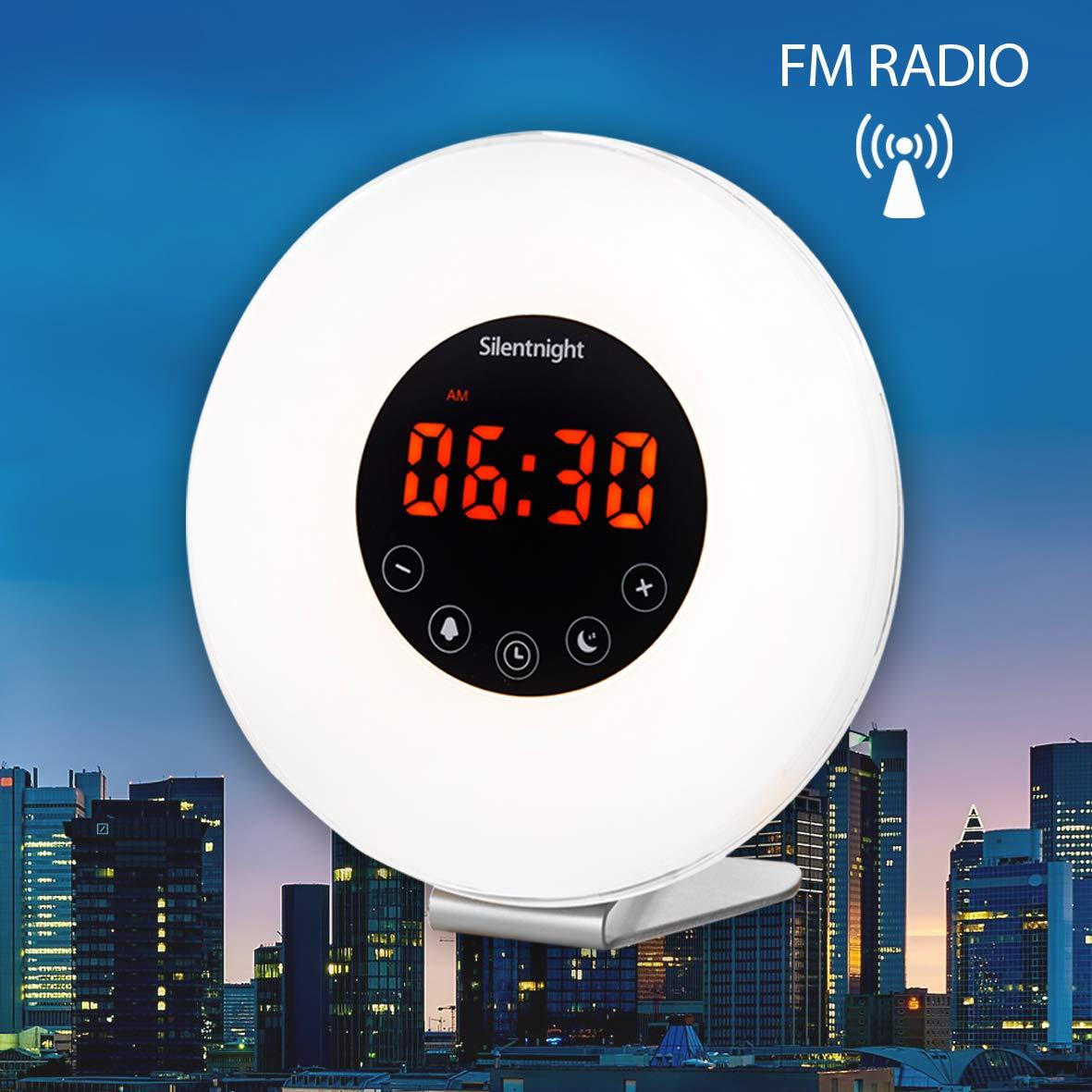 Silentnight 38080 simulación del amanecer - Reloj despertador con radio y iluminación LED, 5 W, color blanco: Amazon.es: Hogar