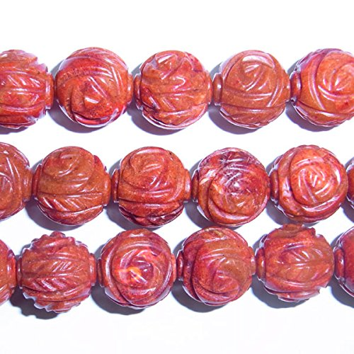 TheTasteJewelry 12mm Round Free Carved Red Coral Beads 15 inches 38cm Jewelry Making Necklace Healing (Red Coral Nugget Beads)