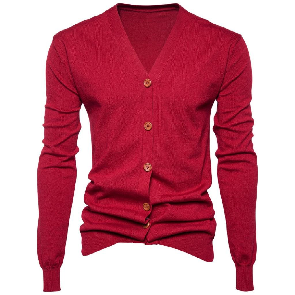 The New Men Autumn Winter Button V Neck Long Sleeve Knit Sweater Cardigan Coat (M, Red) by GREFER