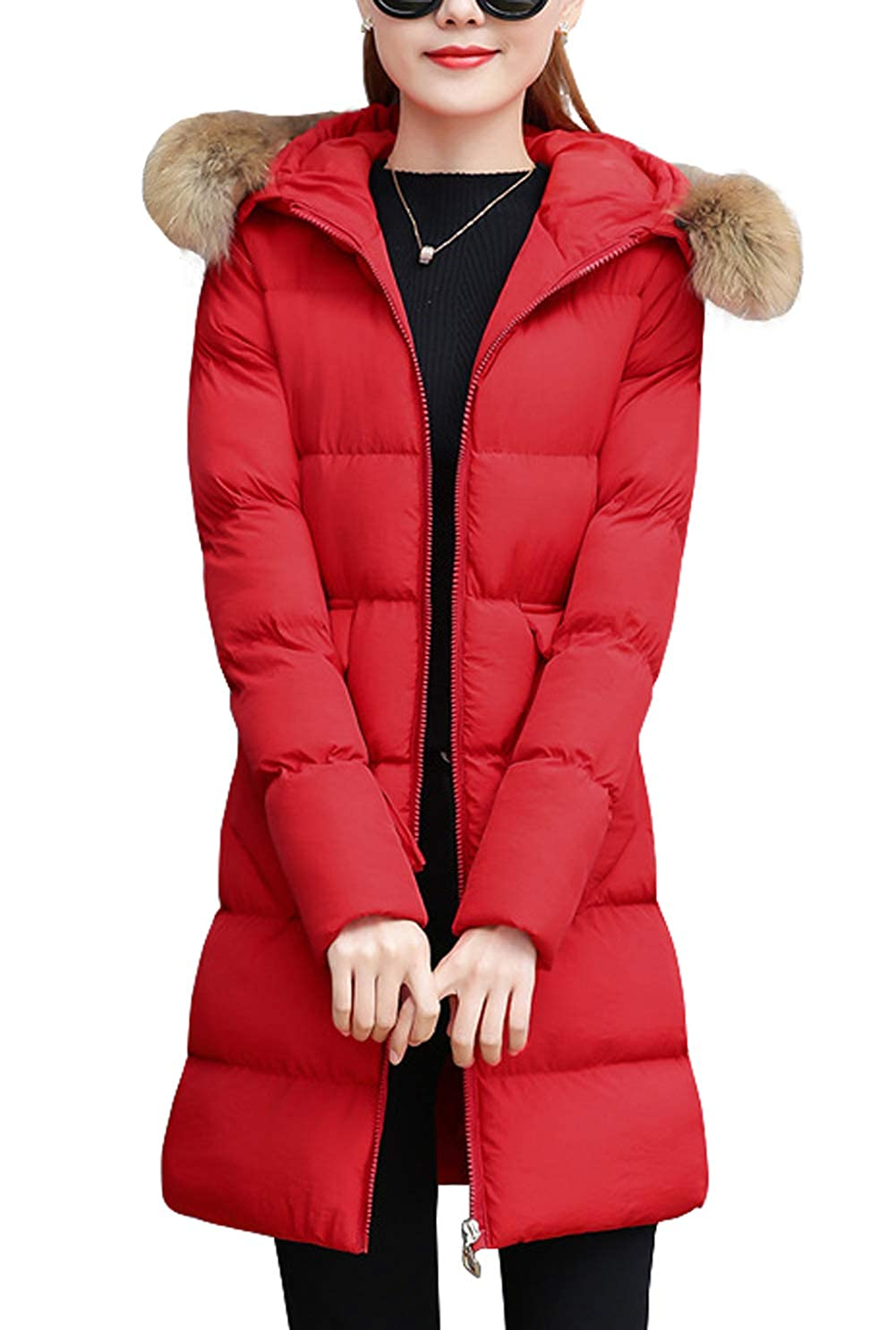 chouyatou Damen Winterjacke Winddicht Fellkapuze Mid Long Parka Daunen Alternative Mantel