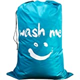 Laundry Bag Drawstring with Traveling, Jumbo Size, Nylon Bag Strap 24 by 36 inches (Blue-smile)