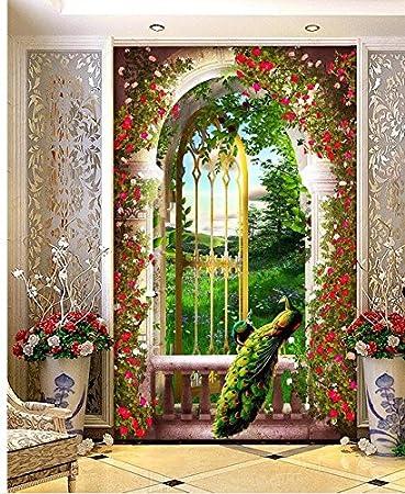 Decoración del hogar Papel tapiz clásico para paredes Jardín Eden Shimen Columna romana Entrada 3D Telón de fondo Pared Papel tapiz 3D-140(W) x70(H)(47