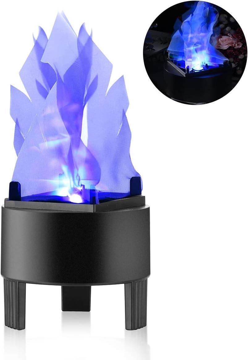 TOPCHANCES Flame Effect Light, 110V 3W 3D LED Artificial Fake Fire Flame Effect Light Campfire Centerpiece Flame Lightning Torch Light for Christmas Halloween Stage Indoor Decoration Blue