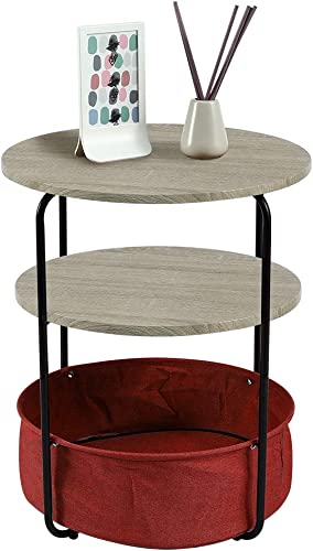 eclife 3-Tier Round End Table - a good cheap rustic end table