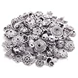 Podoy Bali Style Jewelry Making Metal Bead Caps Mix Style, Antique Silver (70 pcs)