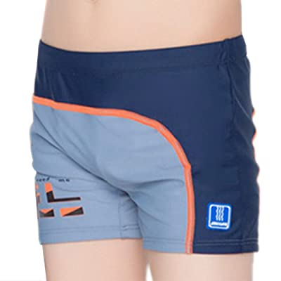 Boys Splice Swim Shorts Polyester Swim Trunks with Swimming Cap Size 12-18