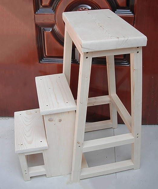 WSQstool Taburete Plegable de 3 escalones Taburete Multifuncional Taburete de Madera Maciza Creativa Escaleras de Doble Uso Taburetes de Cambio Taburete Banco de Pedales robustos Taburete de Escalera: Amazon.es: Hogar