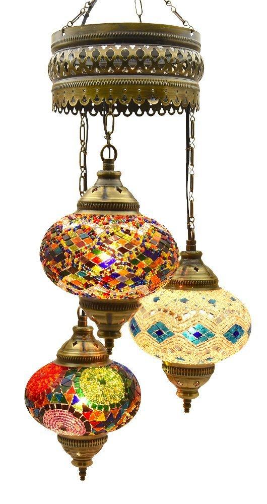 Choose 16 Design - Mosaic XLarge (7.0'') Chandelier Set 3 Globes, Handmade Authentic Long Tiffany Lighting Moroccan Lamp Glass Stunning Bedside Night Lights Brass&Glass Ottoman Turkish Style (XLarge/8)