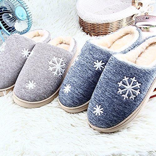 JACKSHIBO Damen Herren Plüsch Baumwolle Pantoffeln Weiche Leicht Wärme Hausschuhe Rutschfeste Slippers für Unisex Grau