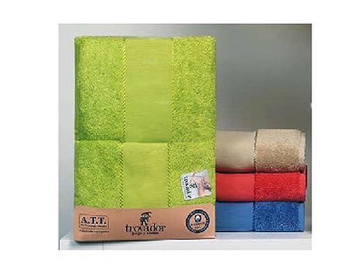Juego de toallas Panamá con cenefa para punto de cruz de Trovador. Tocador+Lavabo+Ducha.. Color Piedra: Amazon.es: Hogar